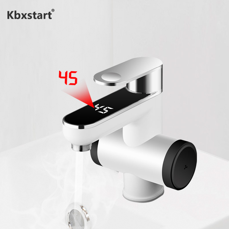220V Tankless Electric Bathroom Water Heater Faucet 120 Degree Rotate Cold And Hot Water Tap With Lcd Display For Washroom