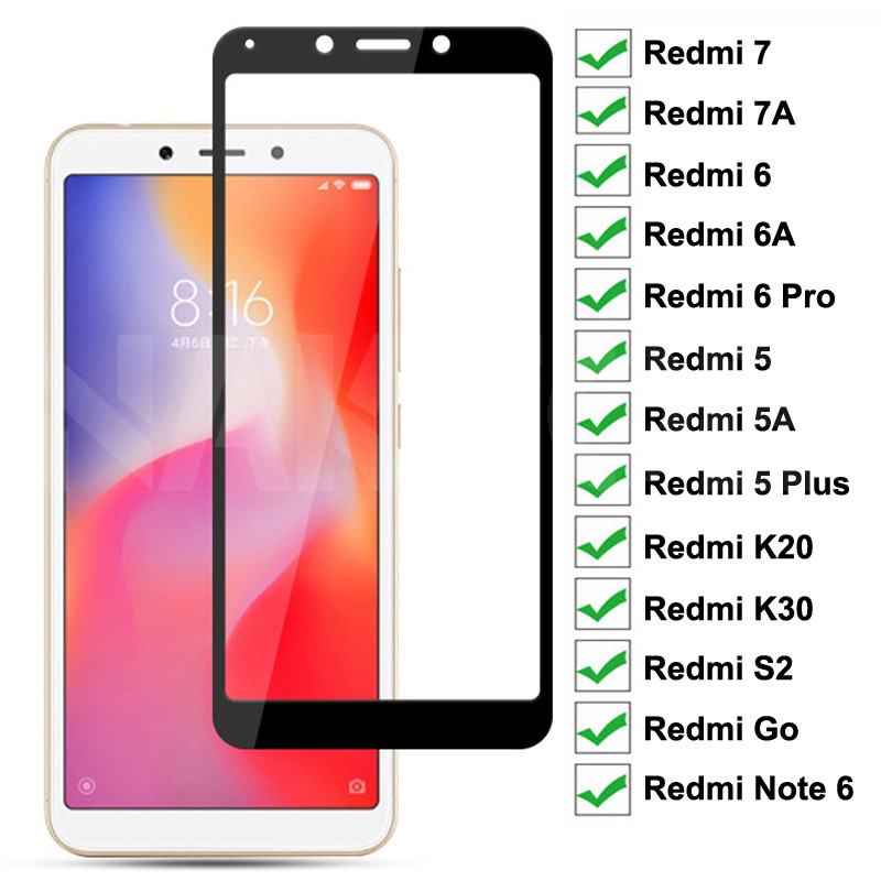 9D Full Cover Tempered Glass For Xiaomi Redmi 7 7A 6 Pro 6A 5 Plus 5A K20 K30 S2 Go Note 6 Pro Screen Protector Protective Glass(China)