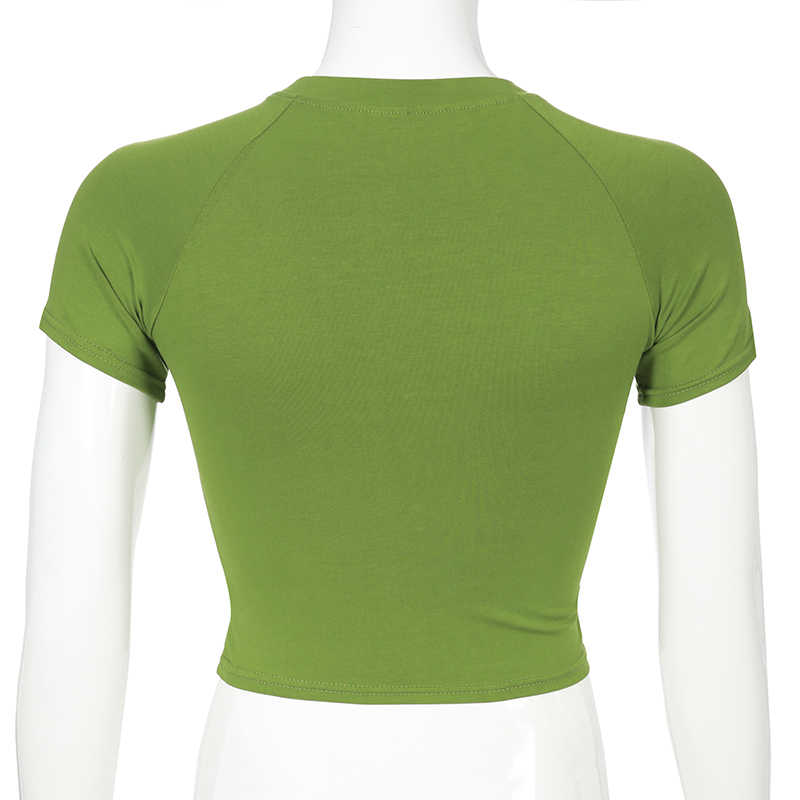 Darlingaga Casual nadrukowane litery zielony T koszula z krótkim rękawem 2020 lato krótkie bluzki koszulki Bodycon t-shirty dla kobiet koszula Harajuku