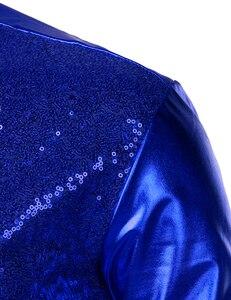 Image 4 - Luxus Royal Blue Pailletten Metallic Kleid Shirts Männer 2019 Neue Langarm 70er Disco Party Hemd Männlichen Weihnachten Halloween Kostüm