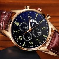 SOXY herren Uhren Klassische Gold Kalender Herren Leder Uhr relogio masculino Quarz Armbanduhr Leucht Beliebten saati stunden-in Quarz-Uhren aus Uhren bei