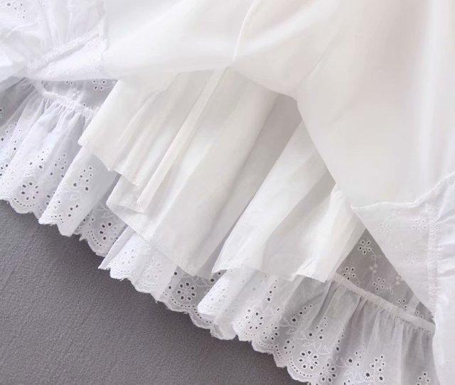 Bazaleas France Lace White embroidery women Dress Vintage Waist Bandage Tie Cross women Dresses Fashion Ruffles vestidos 5