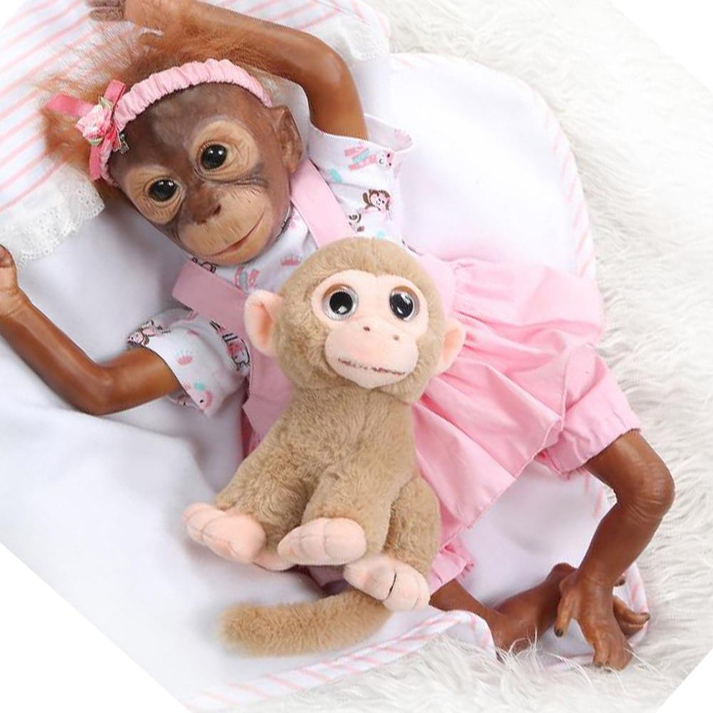21 pouces singe bébé poupée jouets Macaco bonecas tissu corps Silicone singes poupées 52cm doux réaliste orang-outans poupées jouets cadeau