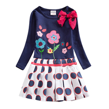 Girls Long Sleeve Polka Dot Dress Autumn New Cotton Embroidery Figure Bow Flowers for Wearing Dresses