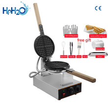 Commercial Electric 110V /220V Non-stick waffle machine round shape waffle iron maker rotary waffle making machine cake oven(China)