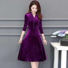 Elegant Velvet warm Dress Winter V-neck Dresses Retro Women 2019 Autumn Long Sleeve Ladies Office Dress Vestidos Robe Plus Size vestidos elegant sweater dress women v neck warm knitted autumn casual winter dresses women 2016 plus size lj7214t