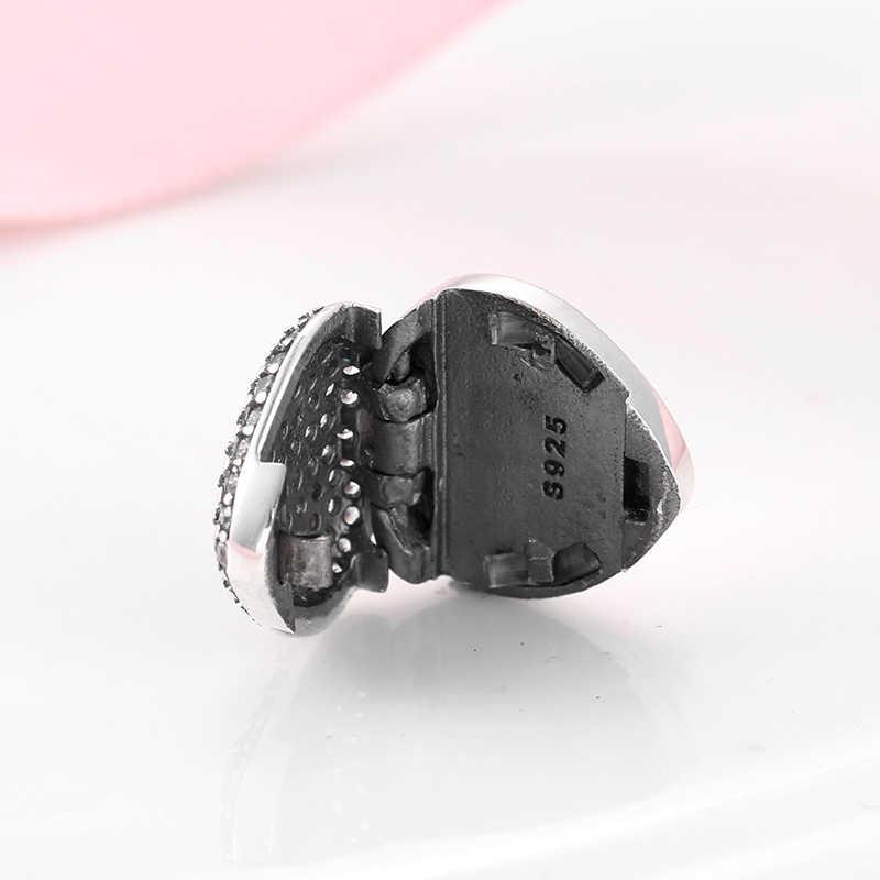 Hot 925 Sterling Silver Charmant En Shining Cz Hart Vorm Clip Kralen Fit Reflectie Charms Armband Voor Vrouwen Sieraden Maken