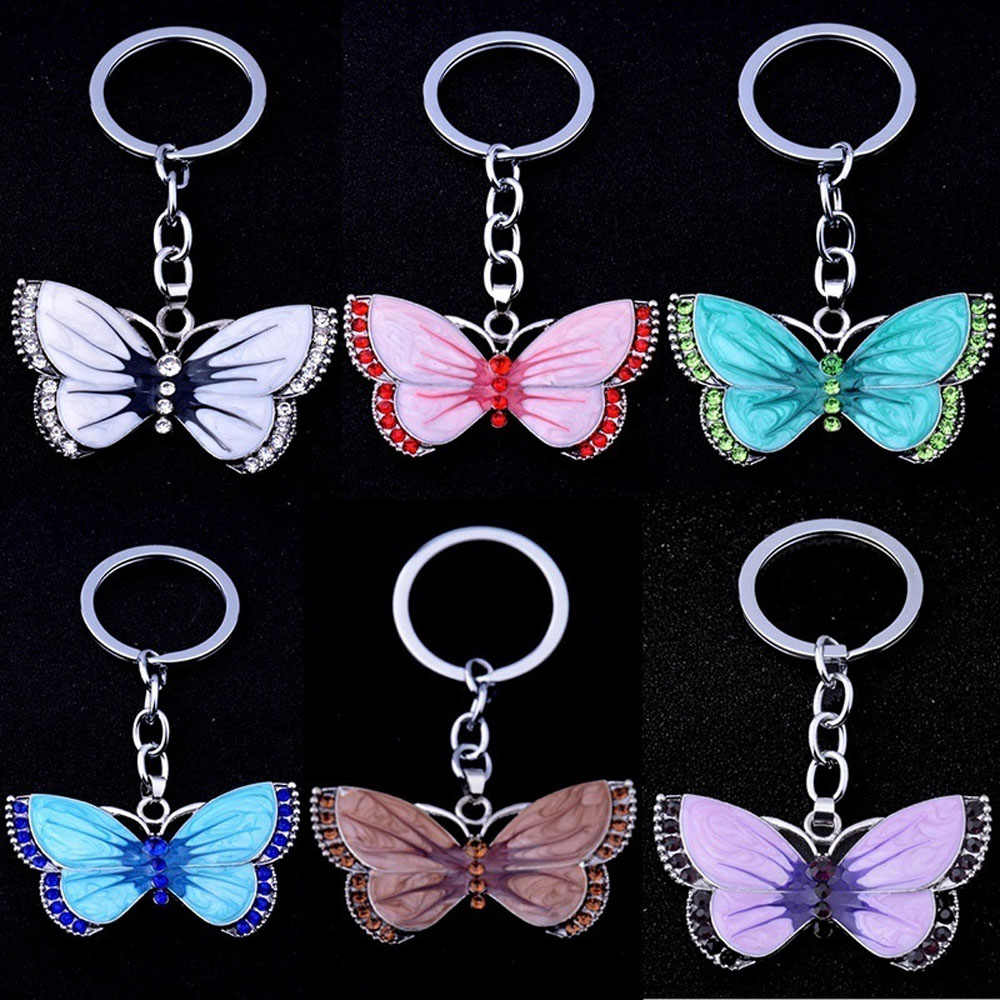 Alta qualidade borboleta chaveiros anéis de cristal strass borboleta pingente charme jóias chaveiros natal presente chaveiro