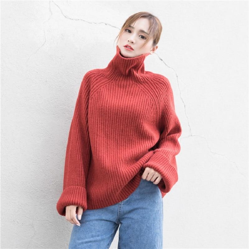 Ccibuy Women Sweater Casual Loose Turtleneck Knitted Jumpers For Women Long Batwing Sleeve Crocheted Pullovers Streetwear Winter