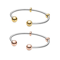 2019 Autumn 925 Pure Silver Pans Original Shine Snake Chain Style Open Bangle Rose Gold Women Snake Chain Bracelet Jewellery
