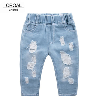 CROAL CHERIE Fashion Children Ripped Jeans Kids Boys Jeans Girls Jeans Denim Pants For Teenagers Boys Toddler Jeans Kids Clothes boys contrast pocket jeans