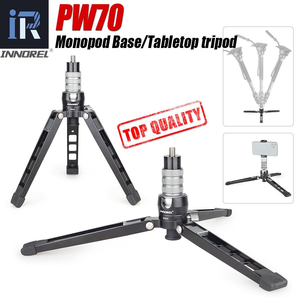PW70 Mini Tripod Monopod Stand Base For DSLR Camera Gopro Cellphone Mount Metal Flexible Desktop Tabletop Tripode With Ball Head
