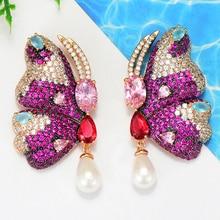 GODKI New Vintage Butterfly Earrings Luxury Boho Bohemian Imitation Pearl Dangle Earrings For Women Wedding Fashion Jewelry 2018