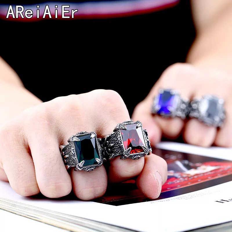Punk forefinger thumb แหวนชายกว้างแหวนผู้ชายเครื่องประดับ retro สีแดงสีดำสีฟ้าสีเขียวแหวนแหวนสแตนเลสสำหรับชาย