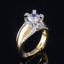 Huitan Claddagh Golden Color Punk Stylish Women Rings With AAA Crystal Stone Prong Setting Exquisite Femme Jewelry Ring Hot