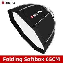 Triopo K65 65cm fotoğraf Bowens dağı taşınabilir sekizgen şemsiye açık SoftBox için taşıma çantası ile stüdyo flaş Softbox