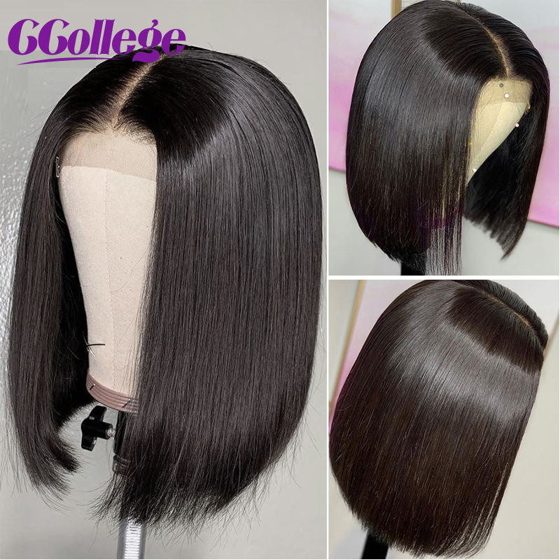 4x4 Lace Closure Wigs Blunt Cut Bob Wig Peruvian Straight Hair Lace Front Wigs For Black