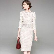 Autumn/winter womens tweed dress high quality rhinestone three quarter sleeves plaid pencil A970