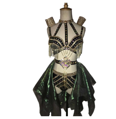 sexy female costumes Sparkly Tassels Crystals set Nightclub Bar DJ Singer DS Costume Dancer Jazz performance stage outfit