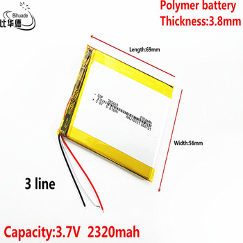 3 line Liter energy battery Good Qulity 3.8V,2320mAH 385669 Polymer lithium ion / Li-ion battery for tablet pc BANK,GPS,mp3,mp4 image