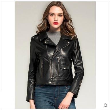 Free shipping,Genuine leather woman slim jackets.fashion Asia size female sheepskin jacket,OL plus size leather casual coat