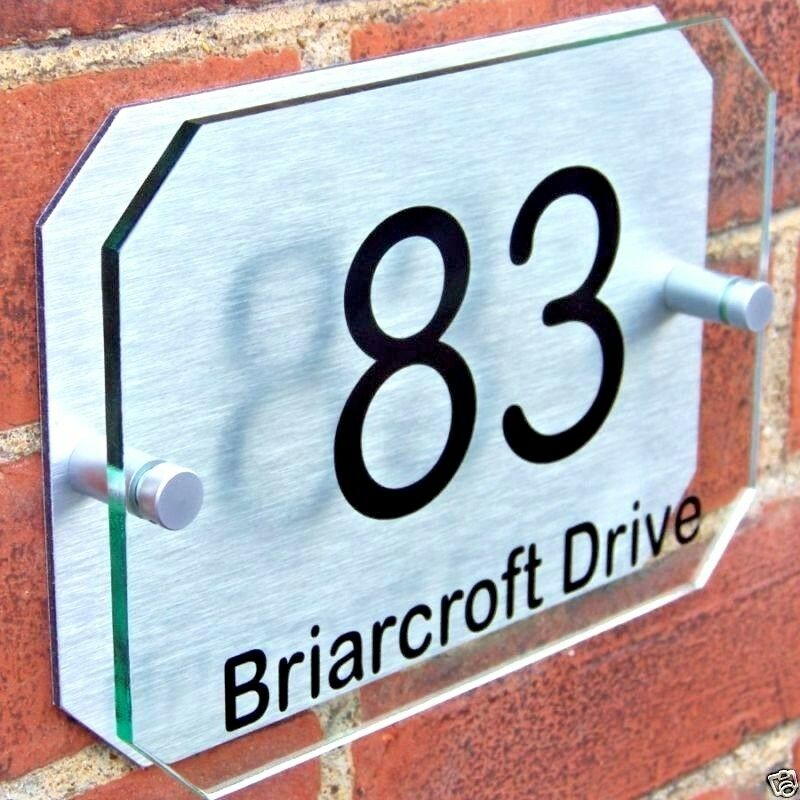 HOUSE DOOR NUMBER PLAQUE WALL SIGN NAME PLATE GLASS EFFECT ACRYLIC ALUMINIUM