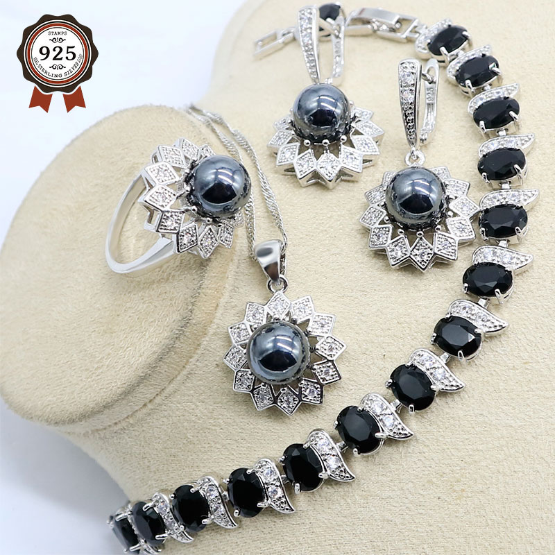 Silver Color Natural Black Pearl Wedding Jewelry Sets Ring Pendant Necklace Earrings Bracelets Birday Gift