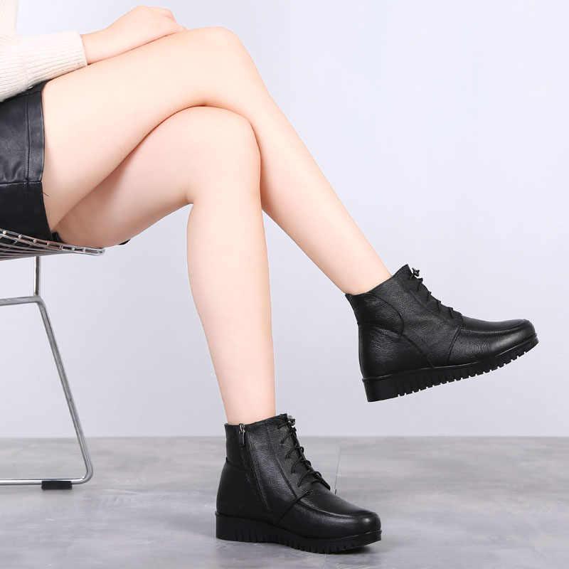 DRKANOL/2019; женские зимние ботинки; классические черные Теплые ботильоны из натуральной кожи с густой шерстью и мехом; обувь на низком каблуке; женские ботинки