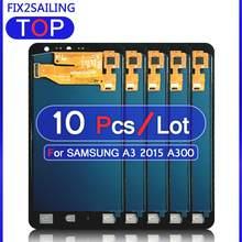 Pantalla de trabajo 100% para Samsung Galaxy A3 2015, A300, A3000, A300F, A300M, LCD, ajuste de digitalizador con pantalla táctil, 10 Uds.
