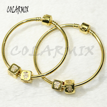 5 pcs bangle bracelets with 2 cubic  beads bangles mix zircon charm accessories bangles bracelets jewel for women 56277