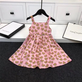 2020 New Fashion Baby Girls Summer Cute Dresses Bear Pattern Printing Newborn Sleeveless Infant Girls Dresses Christmas Cotton