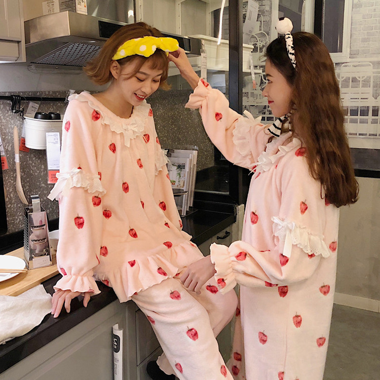 Thick Pajamas Women's 2019 Spring Season Sweet Cute Korean-style Warm Coral Velvet Pajamas Homewear Set Nightgown