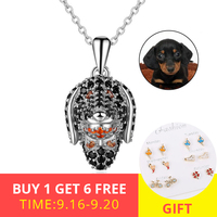 XiaoJing 925 Sterling Silver Lovely Dog Head Necklace Pendant Charm For Men Women Cubic Zircon Jewelry Gift free shipping