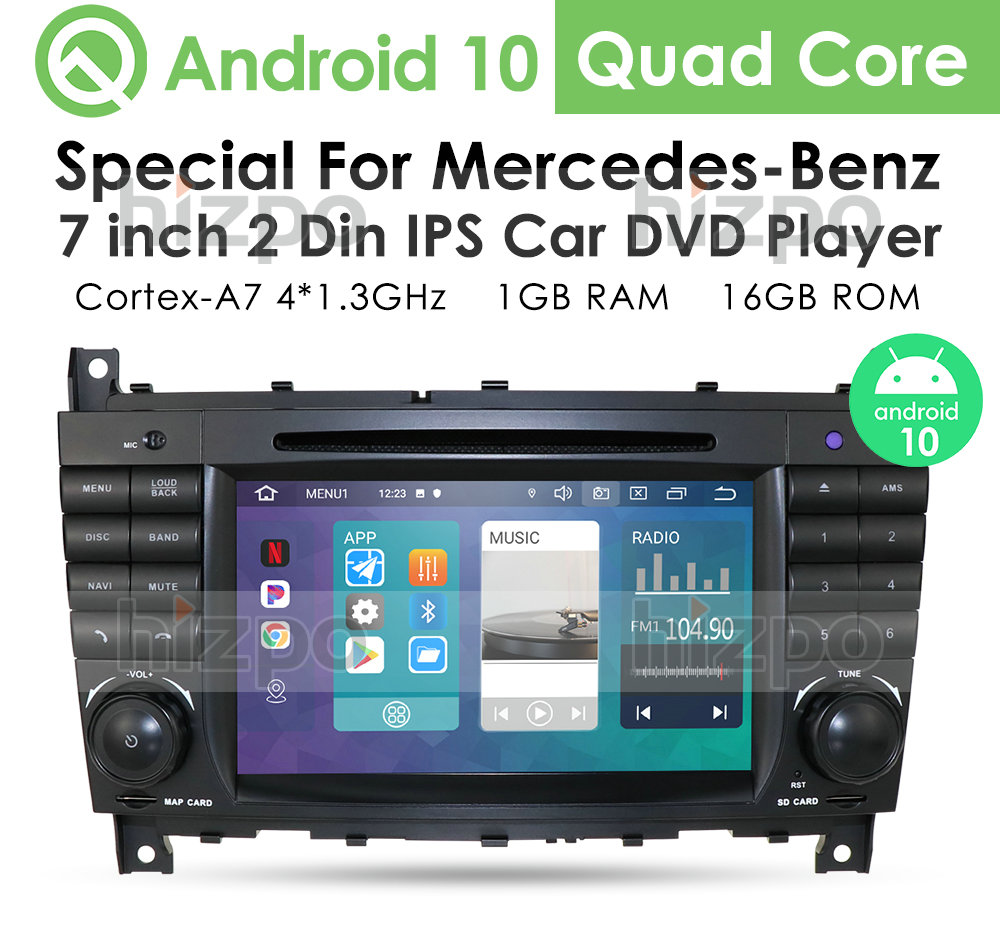 <font><b>Android</b></font> 10 HD IPS Multimedia Car Radio Player for Mercedes Benz C-Class <font><b>W203</b></font> CLK-Class <font><b>W203</b></font> W209 DVD Touch Screen GPS Navigation image