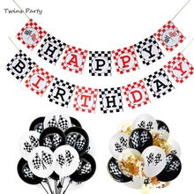 Twins Party Racing Car Themes Happy Birthday Banner Traffic Signs Theme Decorations Cartoon Letter