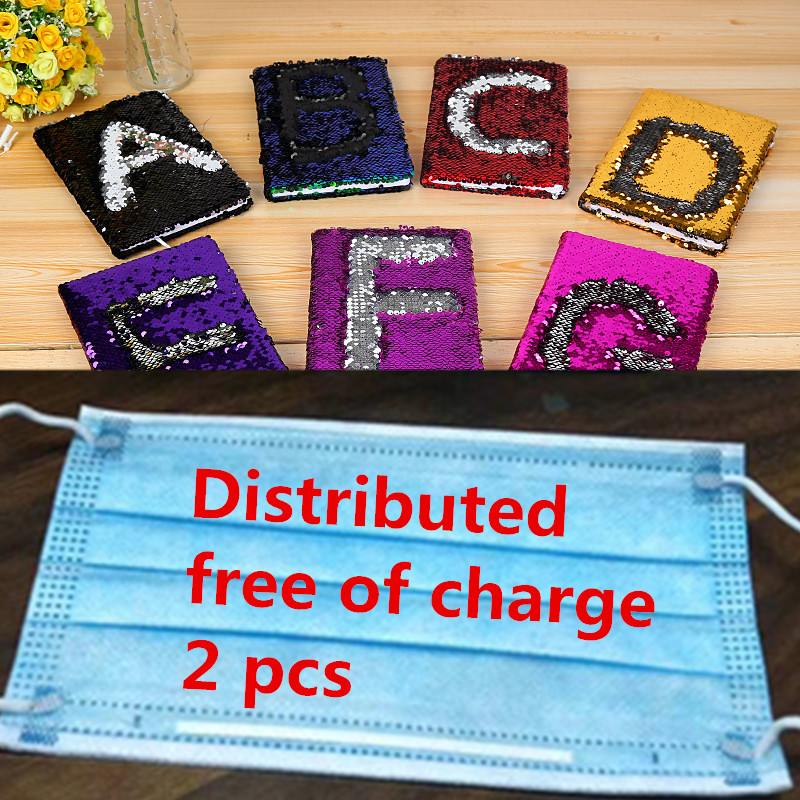 A5 Diary Notebook Mini Double Sided Sequin Blank page Graffiti Notebook Creative Stationery 13Colors Alphabetical diary notebook