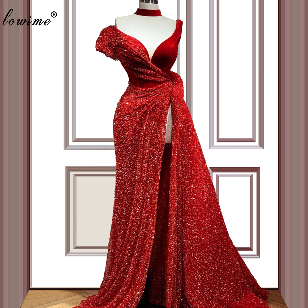 Plus Size Dubai Red Celebrity Dresses 2020 Mermaid Vintage Runaway Red Carpet Dress Arabic Prom Gowns Sexy Vestido De Festa