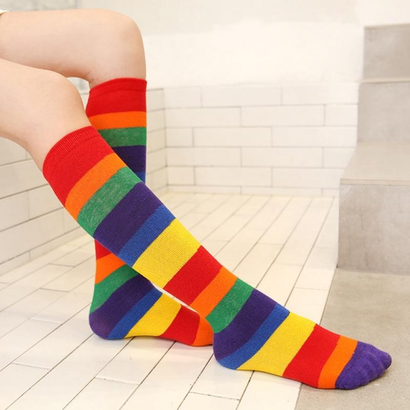 Girls Socks Knee Casual Fashion Rainbow Striped Printing Knee Socks Kids Breathable Cotton