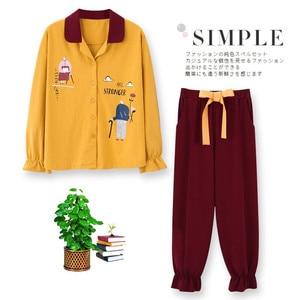 Image 2 - 2020 Nieuwe Vrouwen Pyjama Sets 100% Katoen Lange Mouwen Herfst Lente Nachtkleding Leuke Dames Meisje Pijamas Mujer Volwassen Thuis Kleren