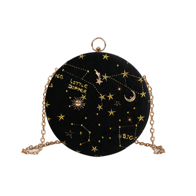 Starry Sky Circular Fashion Suede Shoulder Bag Chain Belt Women'S Crossbody Messenger Bags Ladies Purse Female Round Handbag Bla