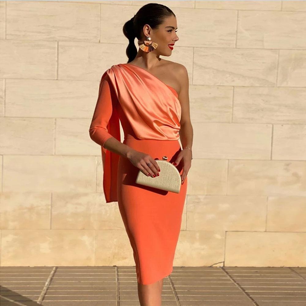 Orange Mini Prom Dresses Sheath / Column Asymmetrical One-Shoulder Sleeveless Party Dresses Intricate Fashion high quality