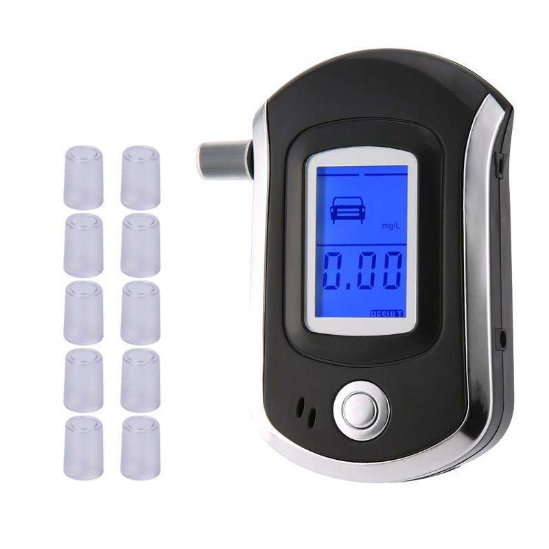 Professional Digital Breath Alcohol Tester Breathalyzer With LCD Dispaly With10 Mouthpieces AT6000 Hot Selling High-quality