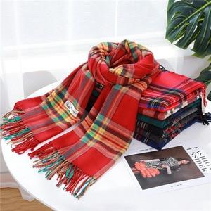 Image 5 - Moda kadınlar için ekose eşarp kaşmir püskül kışlık eşarplar pashmina şal sarar erkek örgü eşarp femme çaldı