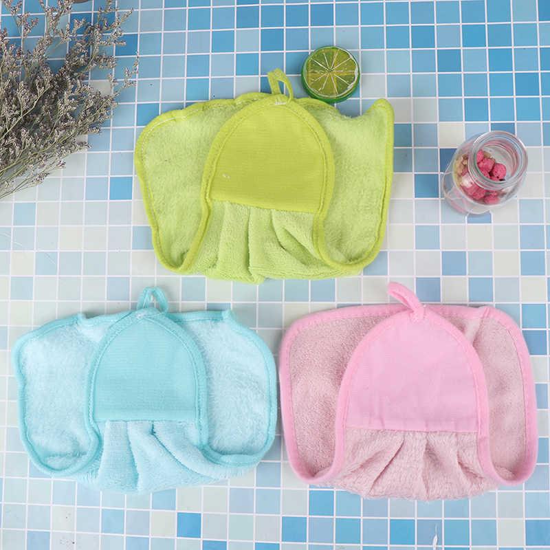 Toalla de mano de felpa adorno colgante para dormitorio infantil cocina baño grueso paño suave Toalla de algodón no-aceite-Stick plato lavado de secado rápido