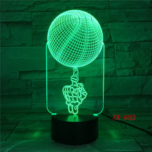 Skeleton Basketball 3D Lamp 7 Color Led Night Lamps For Kids Touch Led USB Table Lampara Lampe Office Light AW-693 creative 7 color horse head lamp 3d visual led night lights for kids touch usb table lampe baby sleeping night light