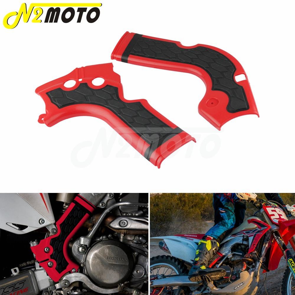 Red Motocross X Grip Frame Guard Protection Cover For Honda CRF250R CRF450R CRF 250 450 R 2013 2016 Dirt Bike Plastic Frameguard|honda motorcycles 250|guard motorcycle|honda crf motorcycle - title=