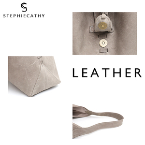 Image 3 - Scブランド高品質の牛革ショルダーバッグ女性のファッションタッセルデザイン女性ラージホーボー本革女性のハンドバッグ