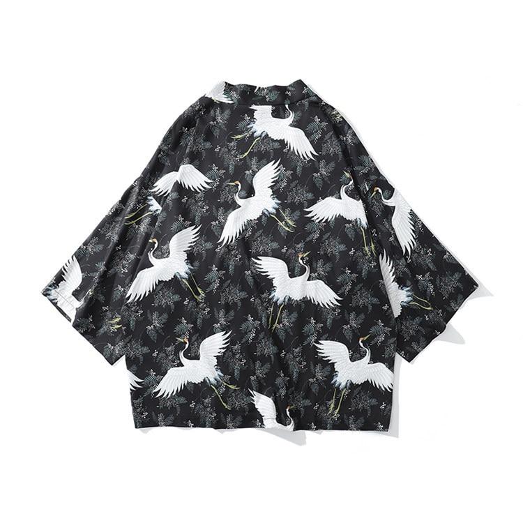 2020 Summer Spring Male Japanese Style Kimono Harajuku Black Print Crane Casual Shirt Hip Hop Kimono Cardigan