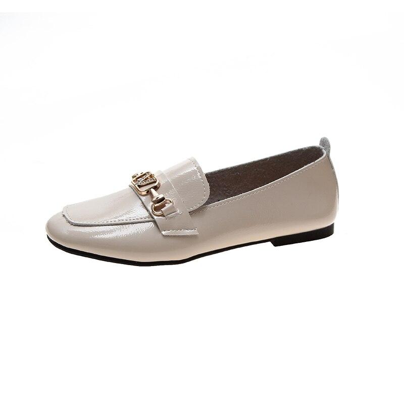 €9.24 30% СКИДКА|2020 г., новые весенние модные женские кожаные туфли высокого качества с квадратным носком удобные дышащие лоферы в европейском стиле|Обувь без каблука| |  - AliExpress