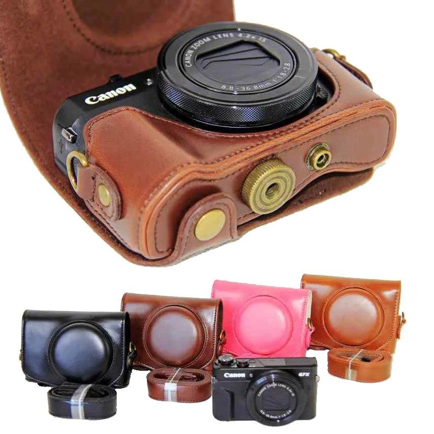 Neue Pu Leder Kamera Fall Für Canon Powershot G7X Mark 2 G7X II G7X III G7X3 G7X2 G7XII Digital Kamera tasche Abdeckung + strap
